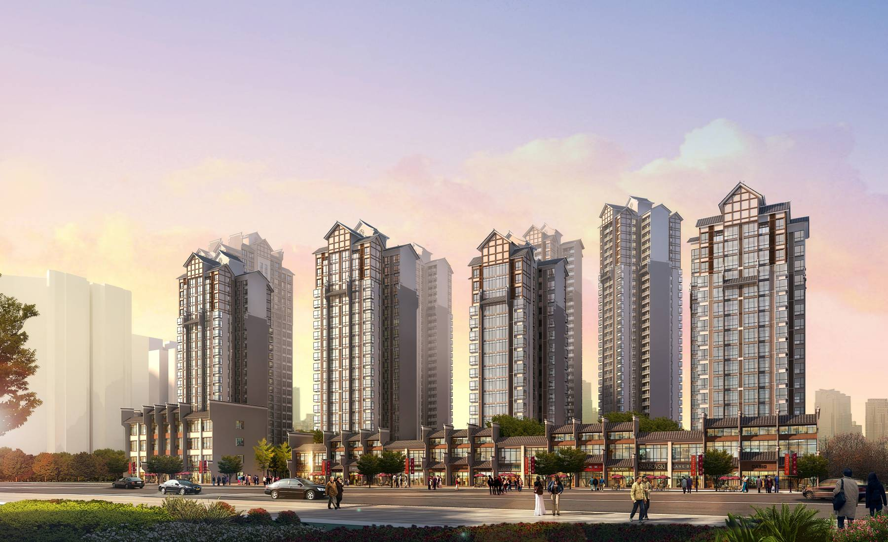 中式高层商业住宅小区