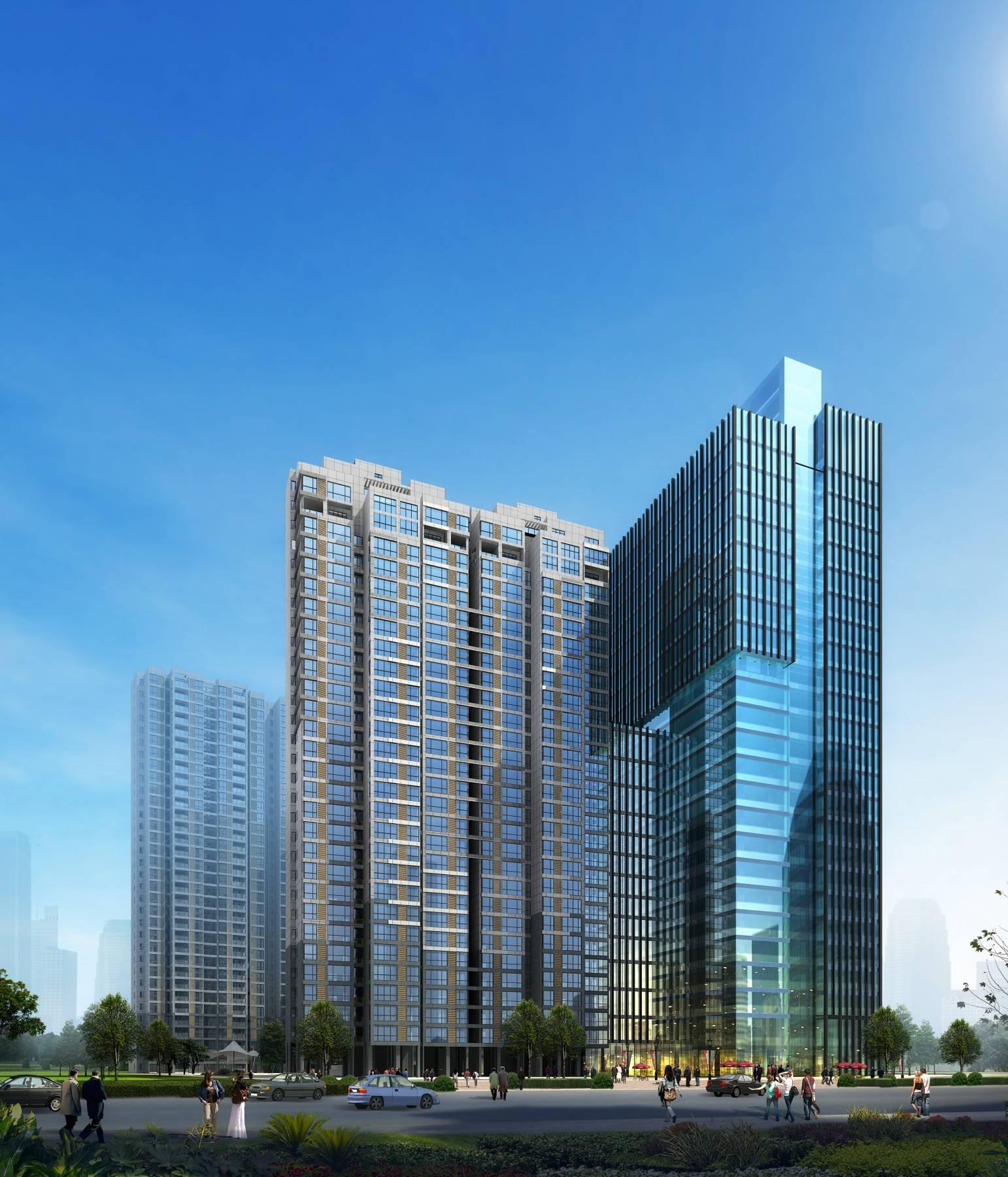 现代高层办公楼及住宅楼