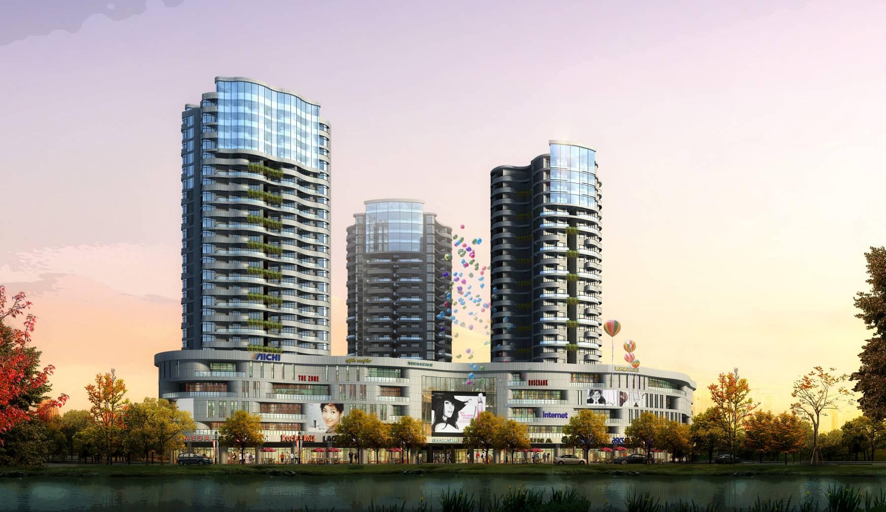 现代高层商业及住宅楼