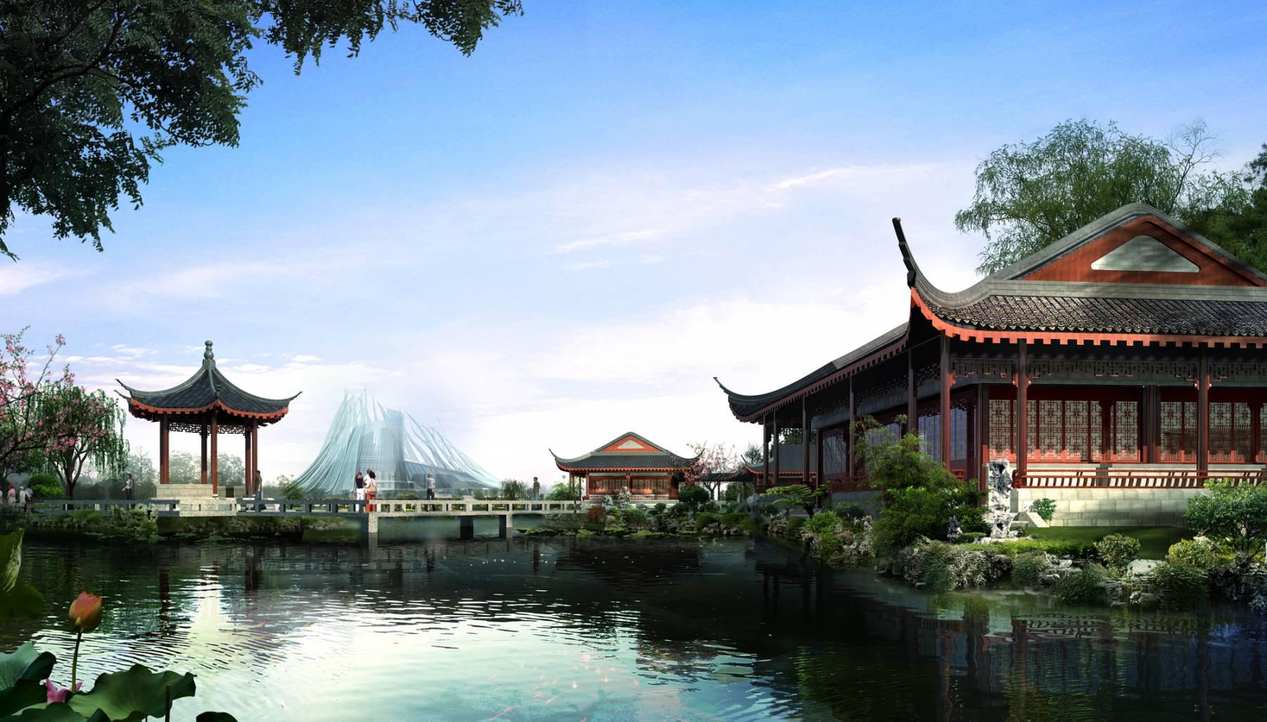 中式商业街及景观