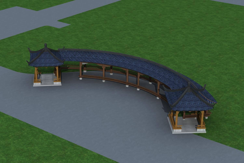 中式连廊及凉亭