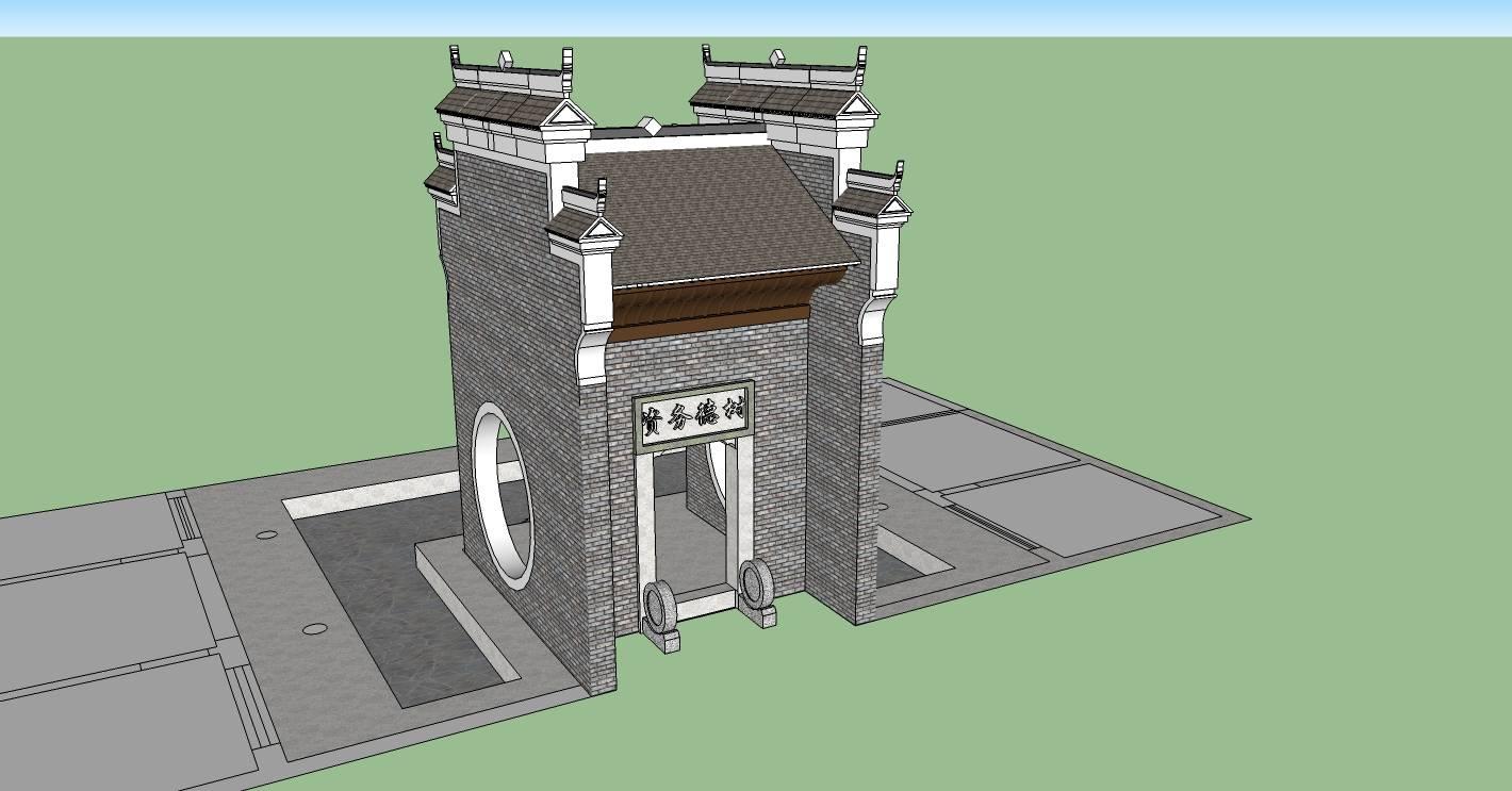 建筑构件-中式大门