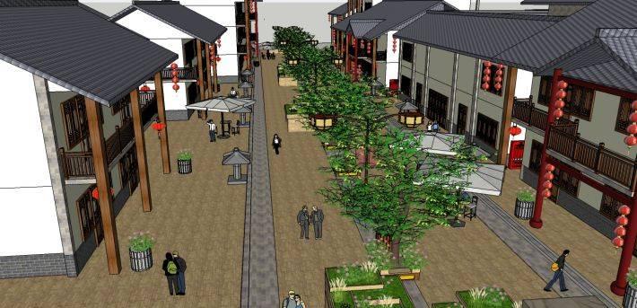 现代中式商业街