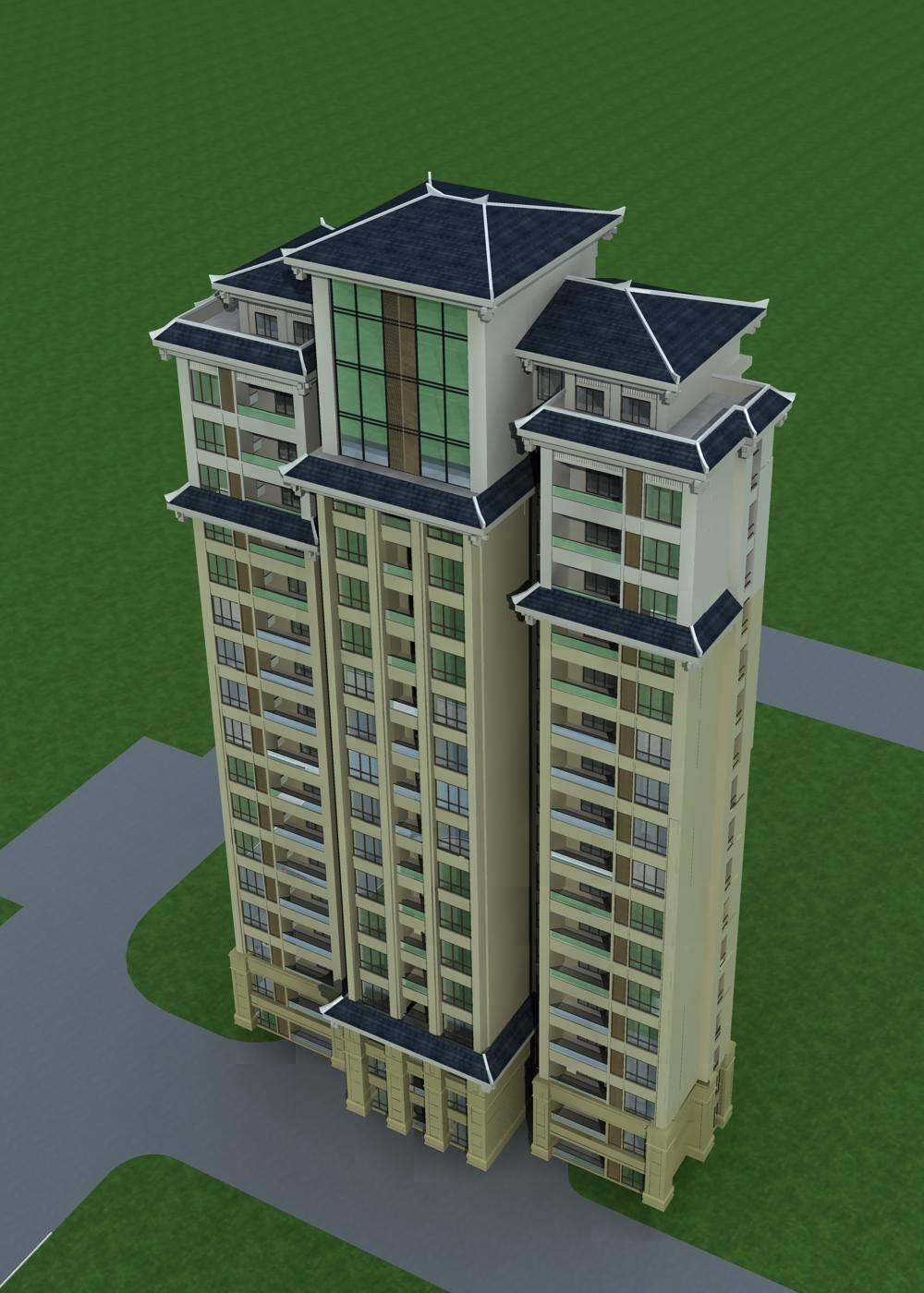 中式高层住宅楼