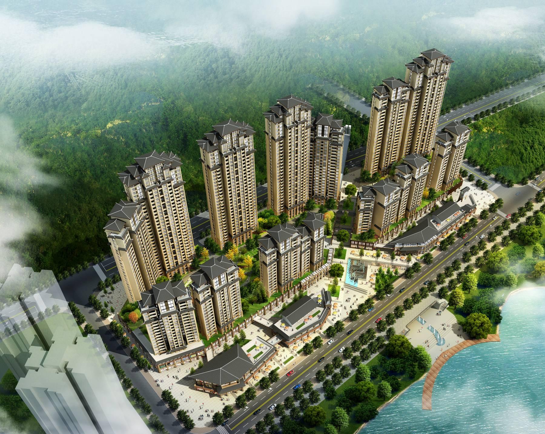 中式滨江商业住宅小区