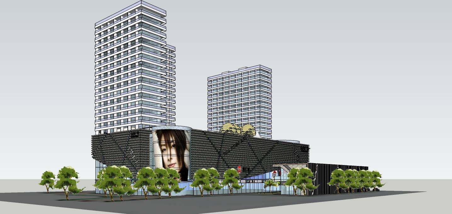 现代高层住宅带商场