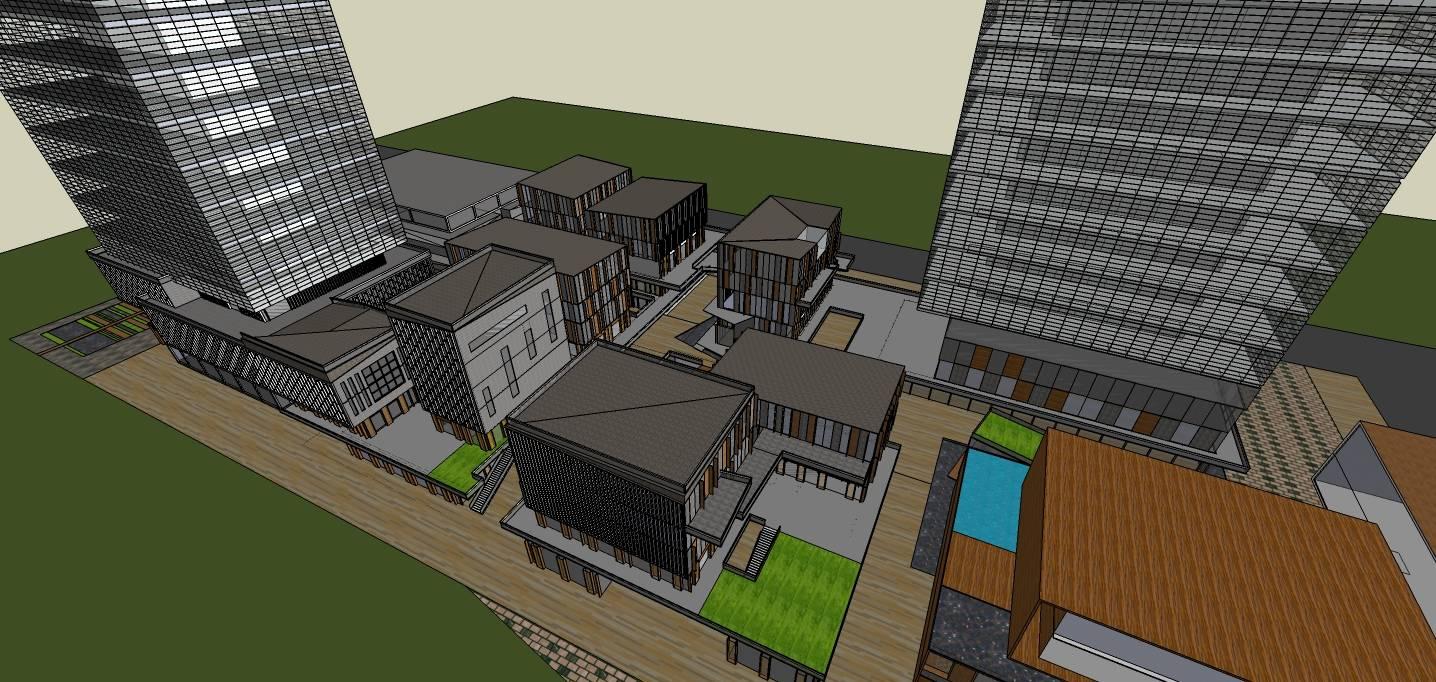 现代风格商业街加高层办公楼