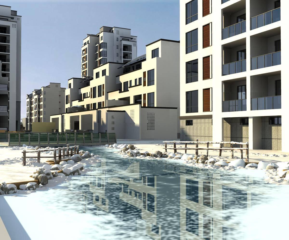 中式住宅小区雪景