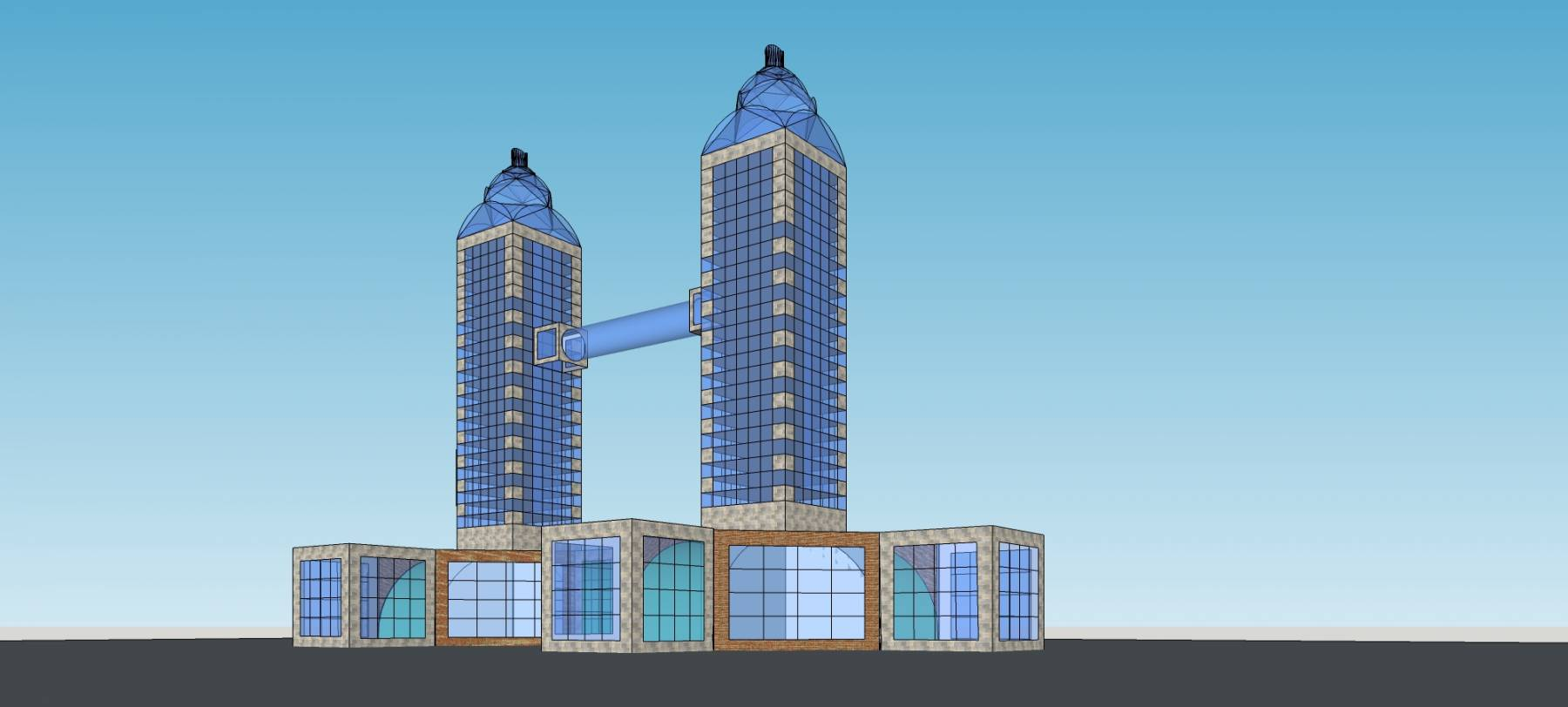 现代双塔式高层办公楼