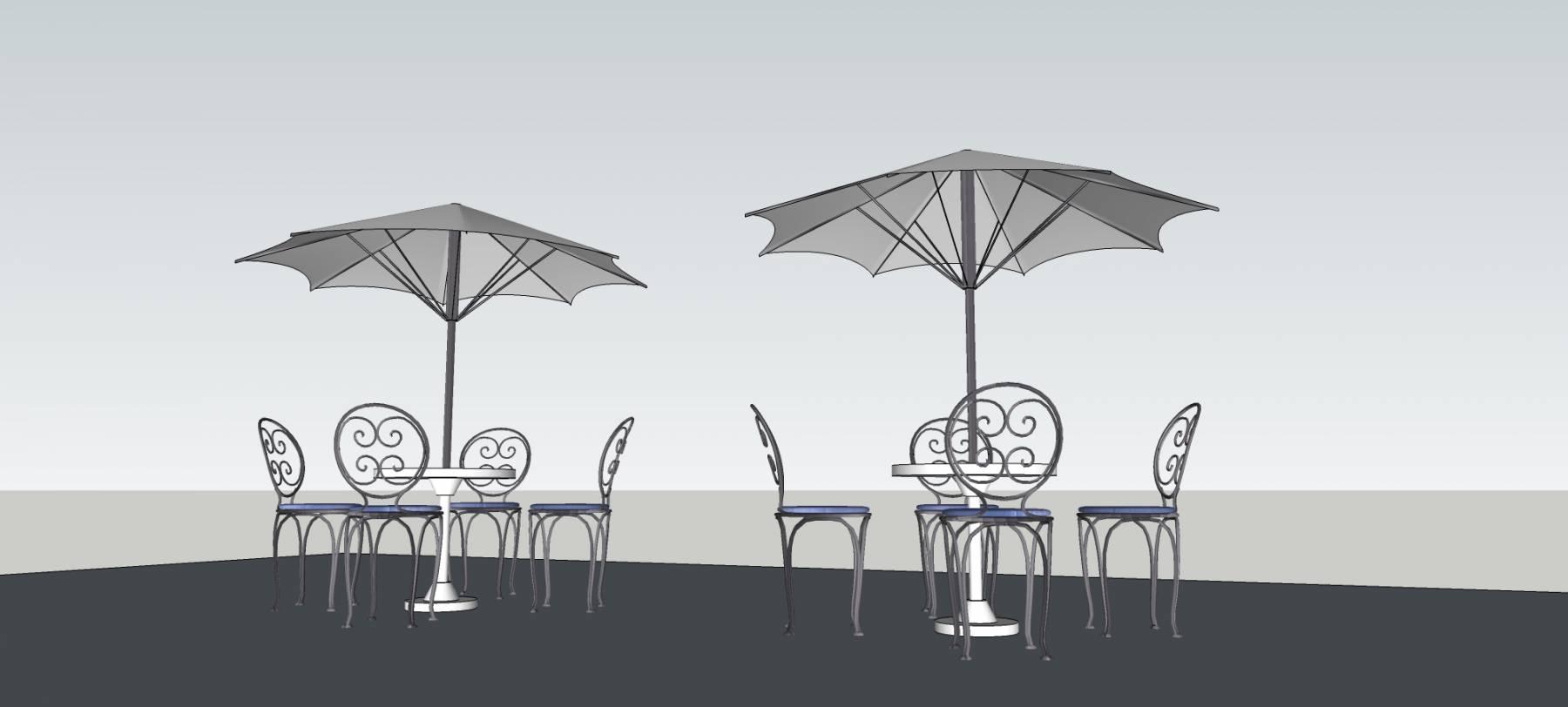 露天座椅及伞亭