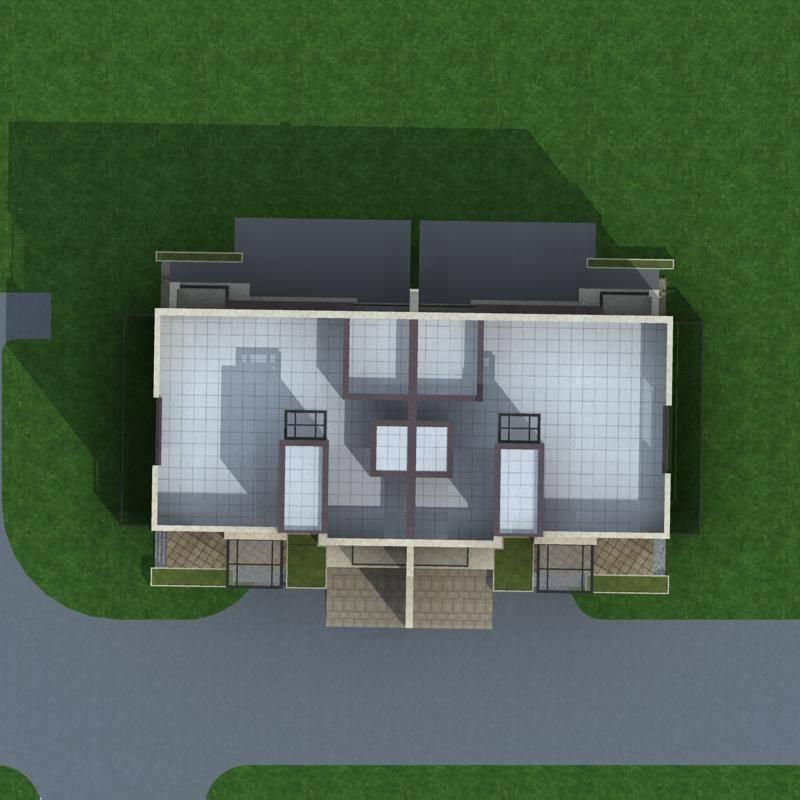 现代双拼别墅