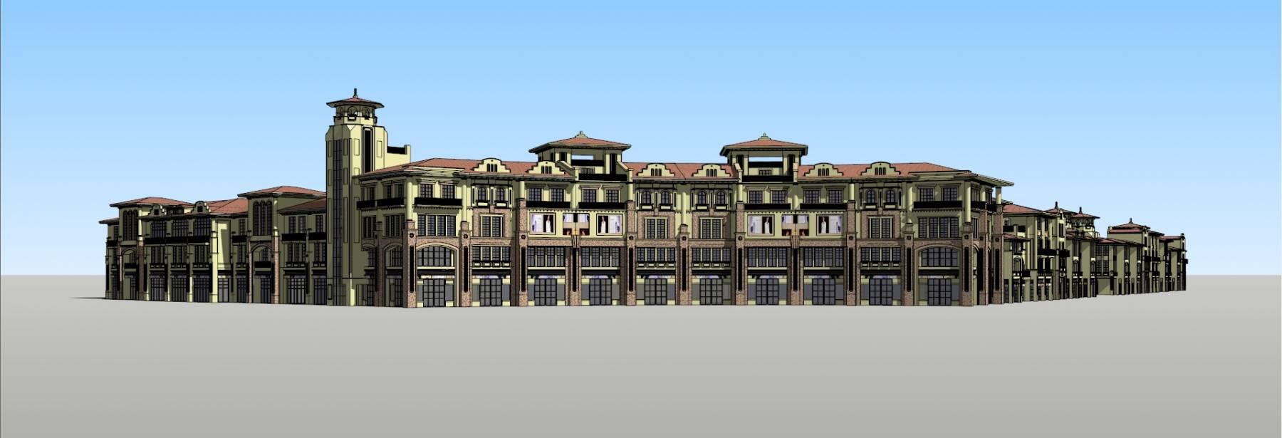 上海一小区商业街设计 地中海 西班牙风格