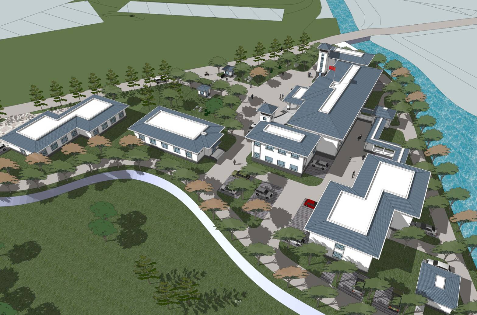 精细低层新中式办公楼规划