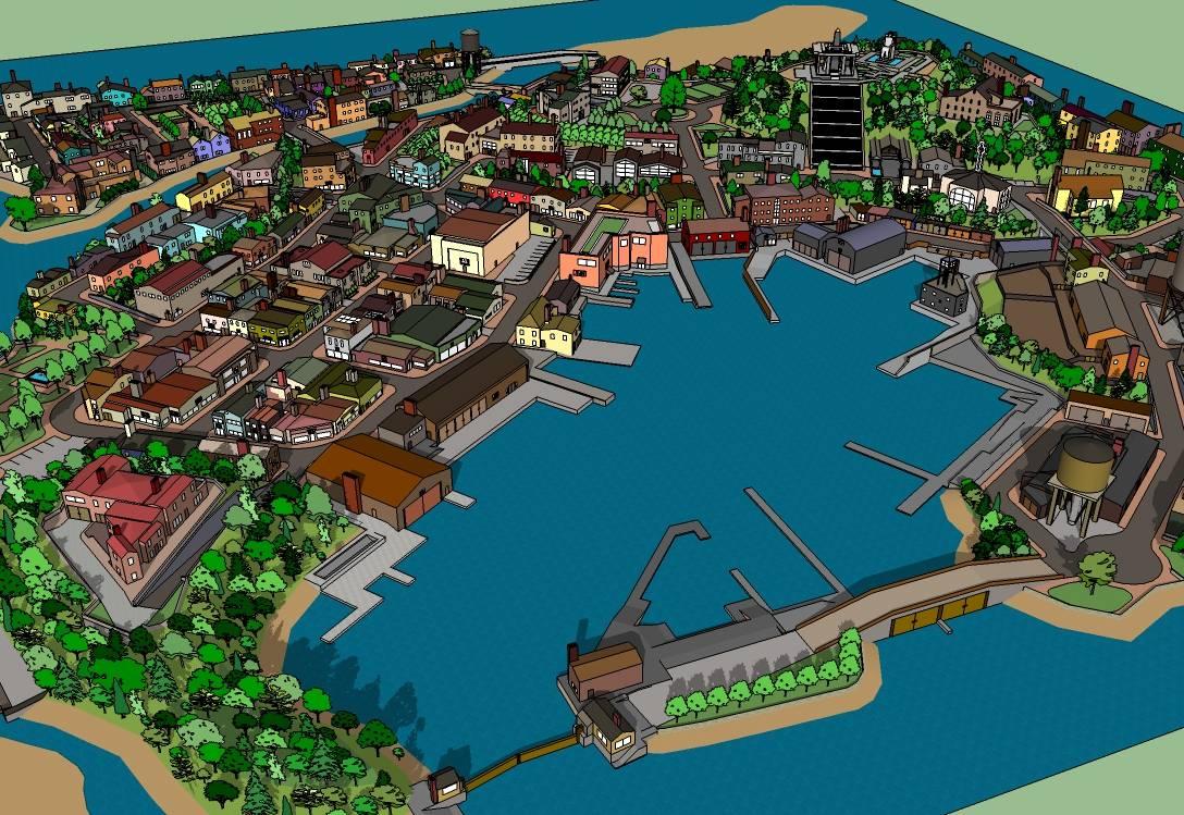 精细港口小镇