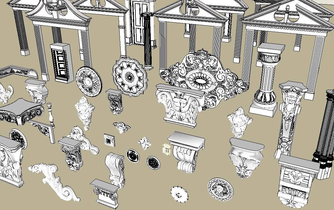 欧式建筑构件模型集合