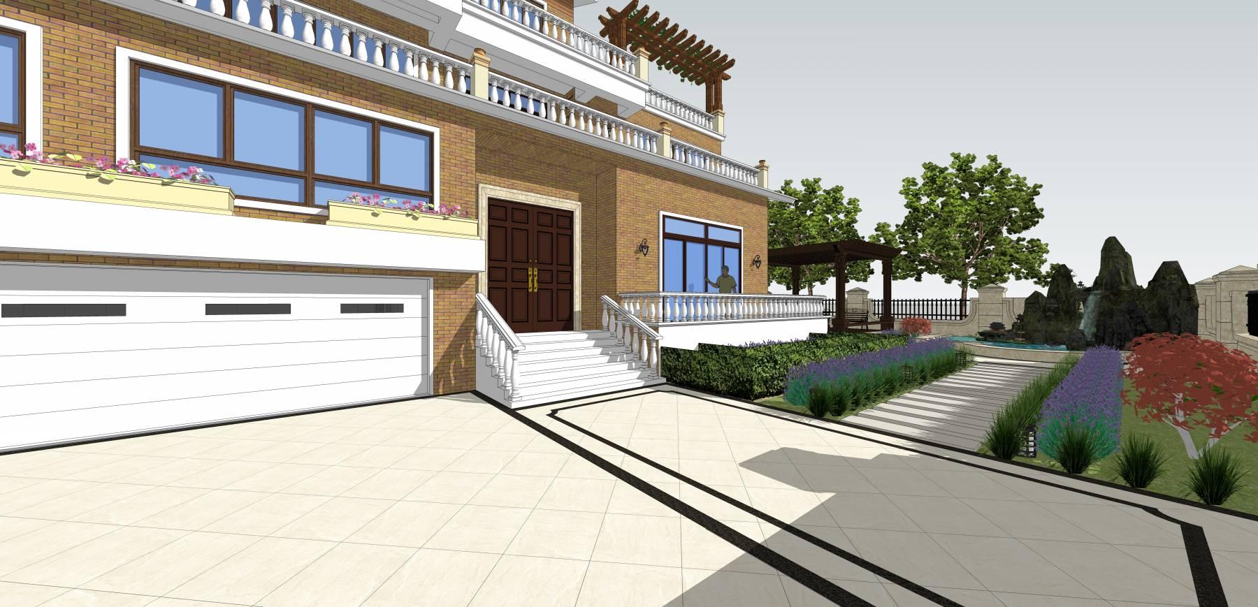 独栋别墅带花园SU模型附CAD