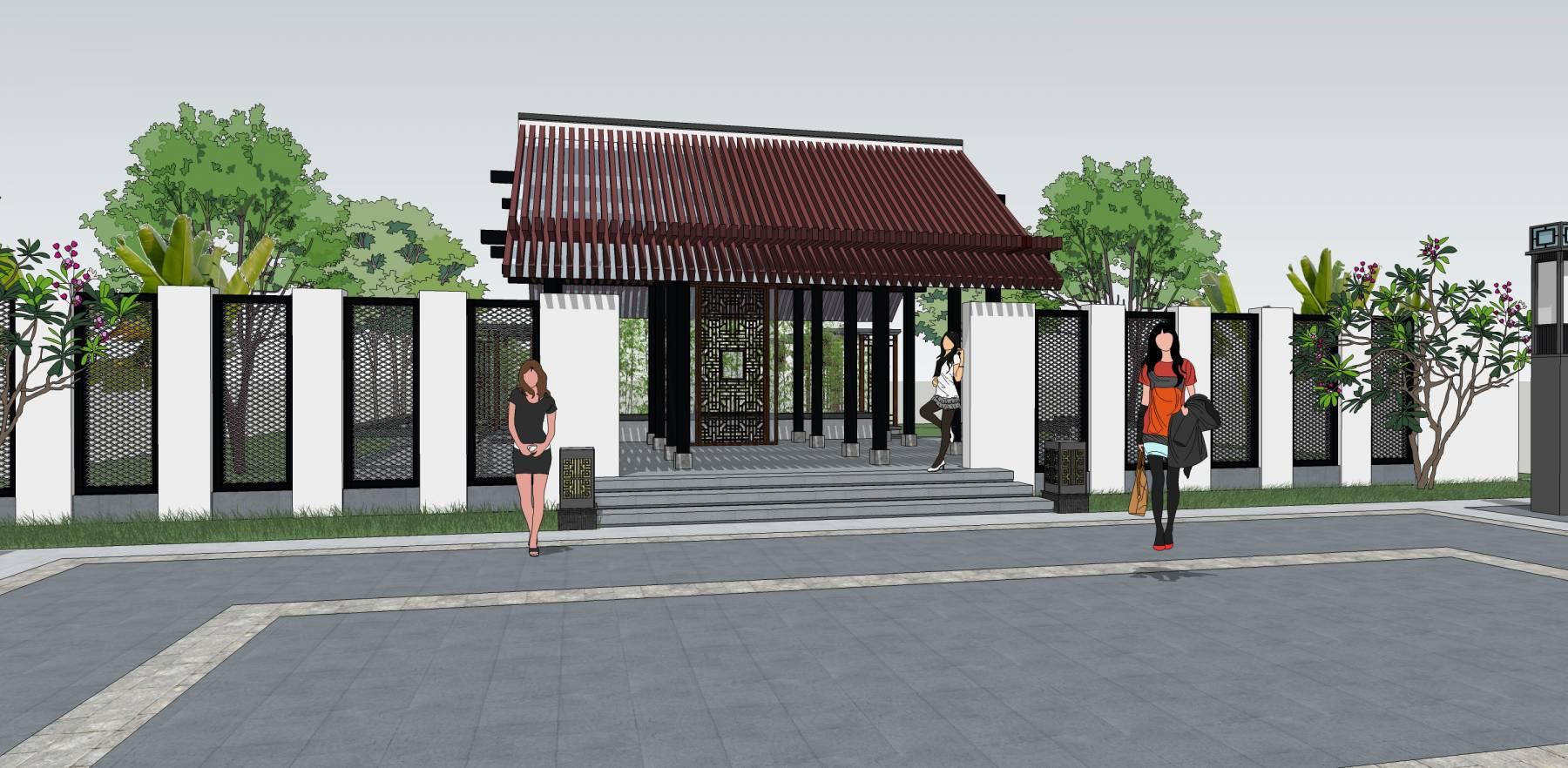 中式院落景观入口
