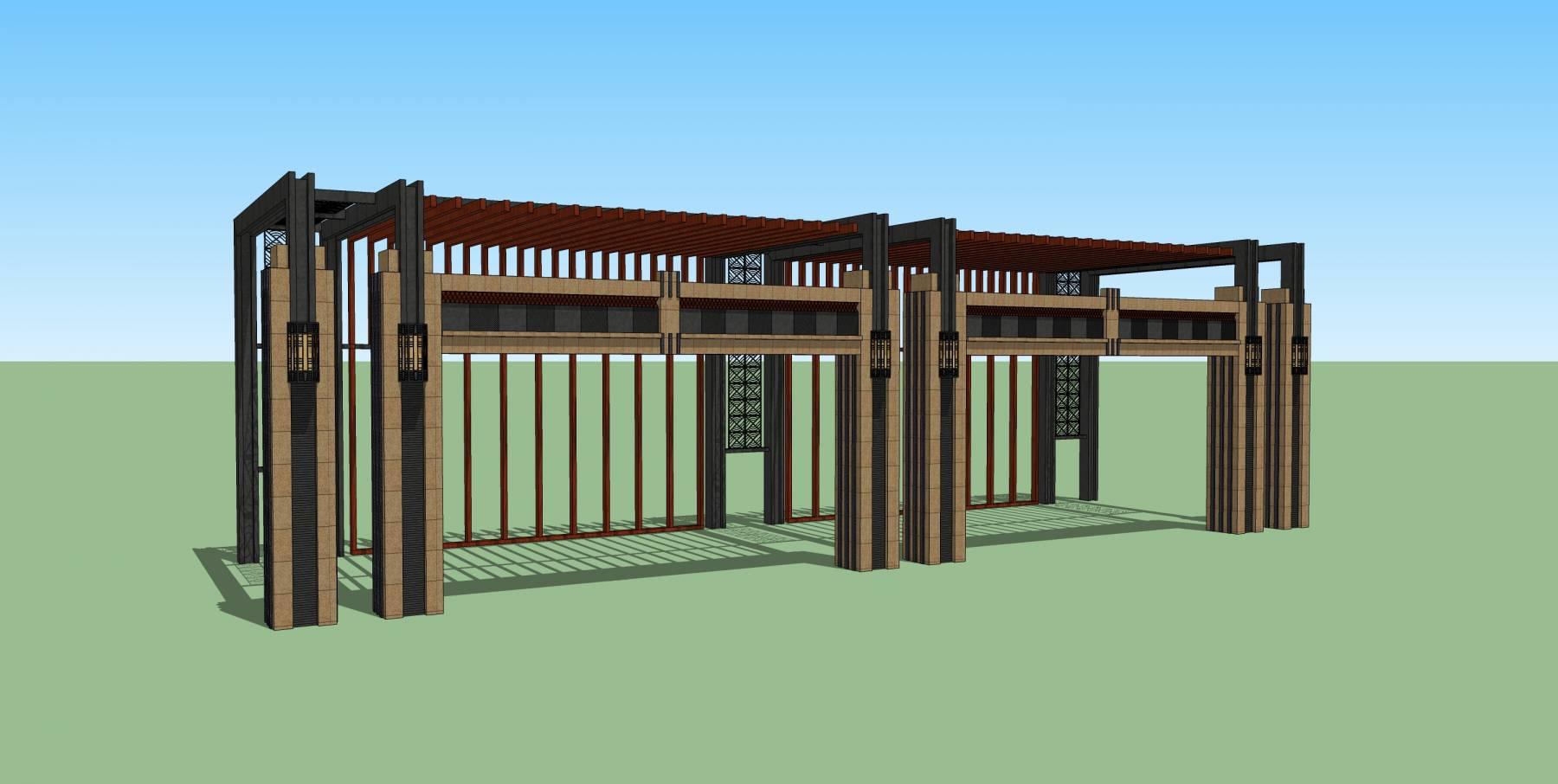小清新新中式廊架