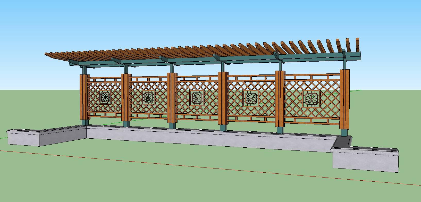 新中式单臂花架(钢木结构)