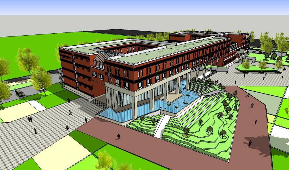 大学生国际交流中心现代风格建筑模型
