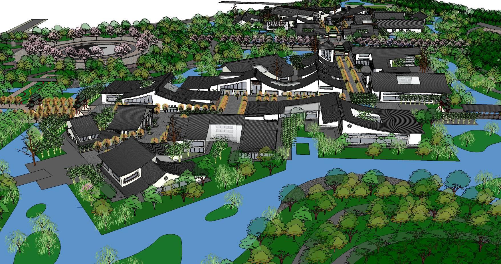 中式建筑规划景观模型