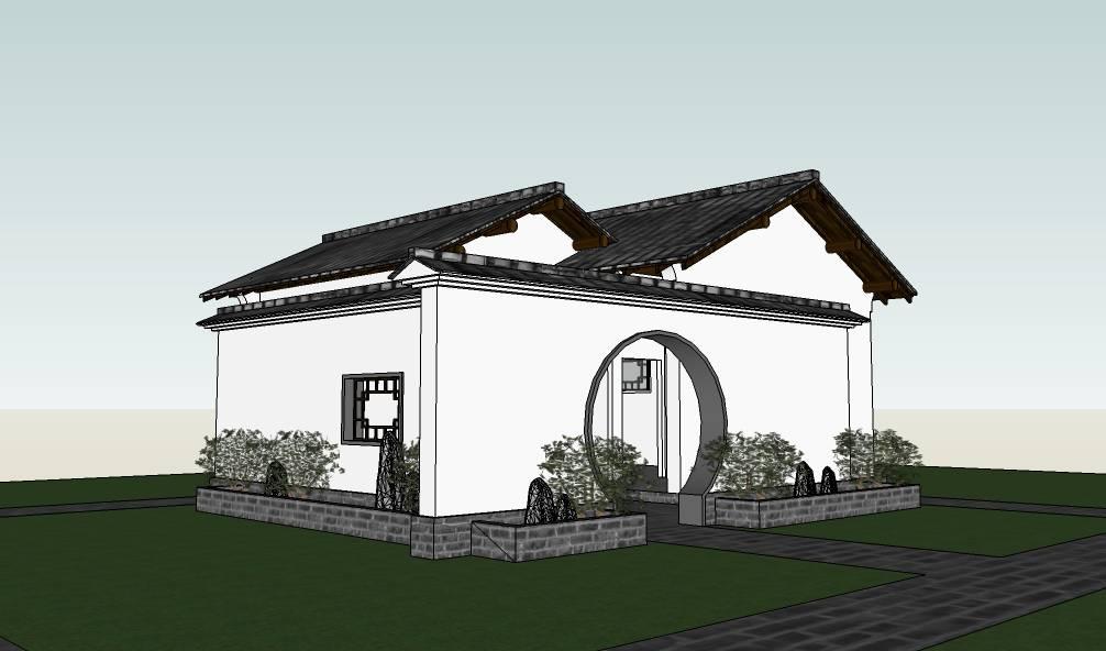 中式仿古建筑公共厕所建筑模型