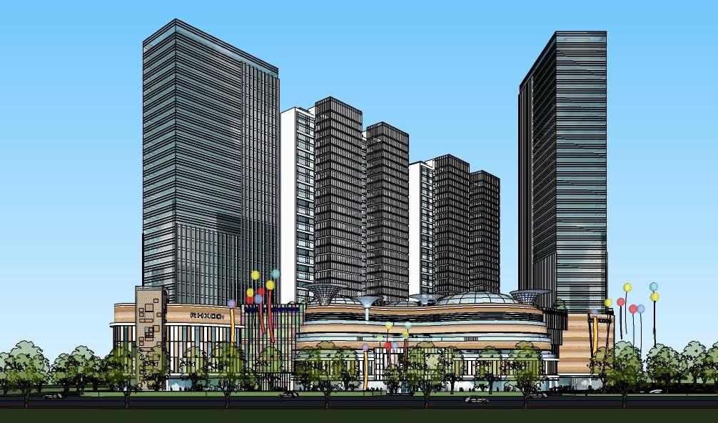 现代风格高层办公综合商业建筑模型