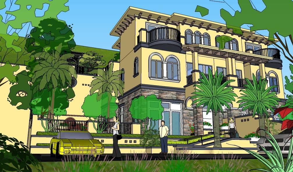 庭院高端现代简欧别墅建筑精细模型