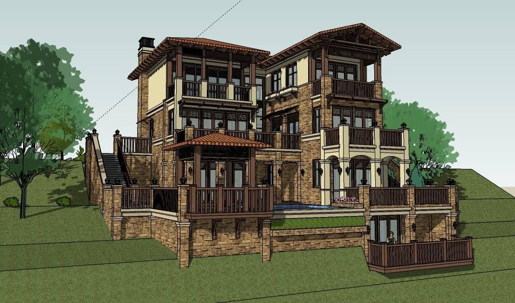 住宅别墅西班牙欧式(托斯卡纳)地中海 传教士)南加州建筑模型