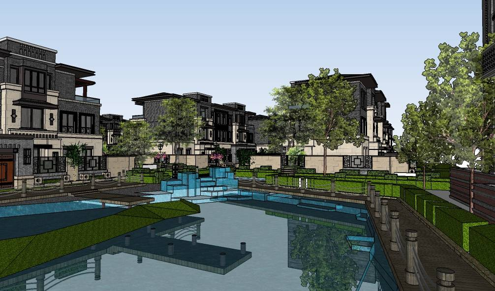 现代简约风格别墅住宅群建筑模型