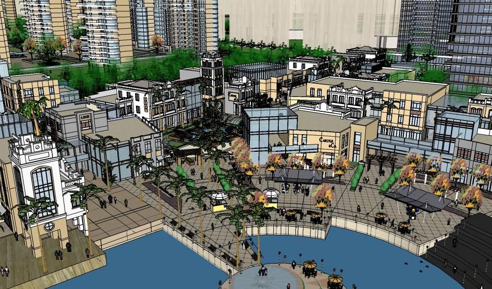 滨水现代风格高层住宅小区办公楼及综合商业娱乐街建筑模型