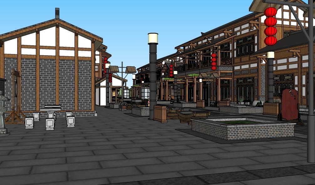中式多层斜坡屋顶木质底层商业街建筑模型