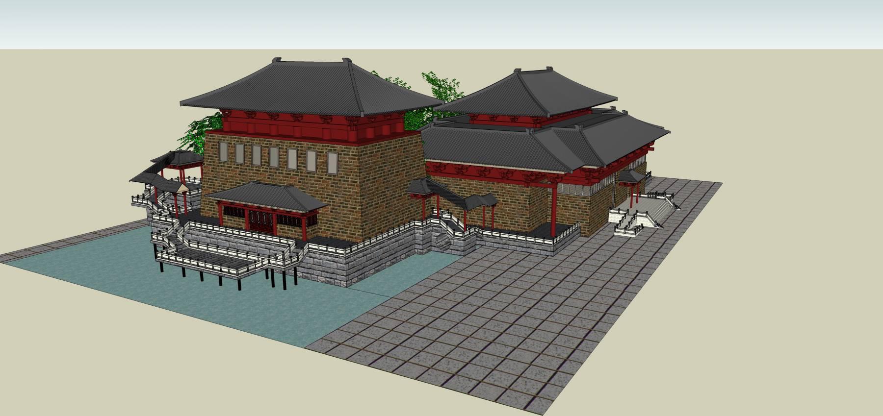 坡屋顶古建筑模型