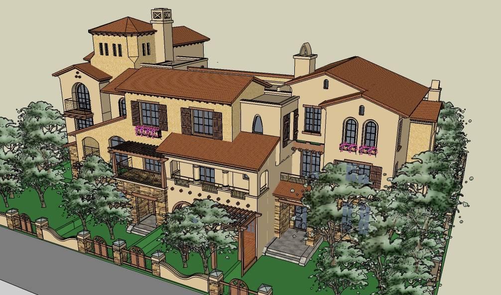 连排户型别墅西班牙风格建筑模型