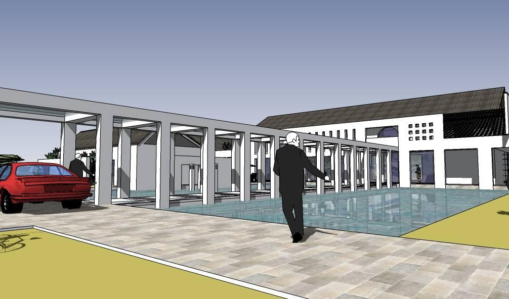 现代中式风格水电厂办公楼建筑模型