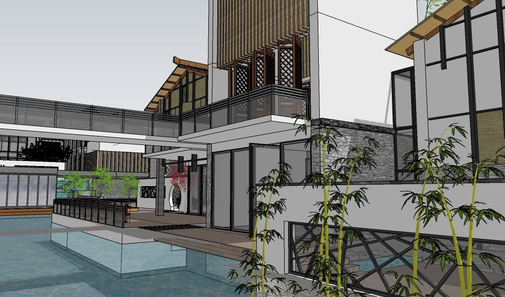 西南民俗商业建筑群现代中式建筑模型