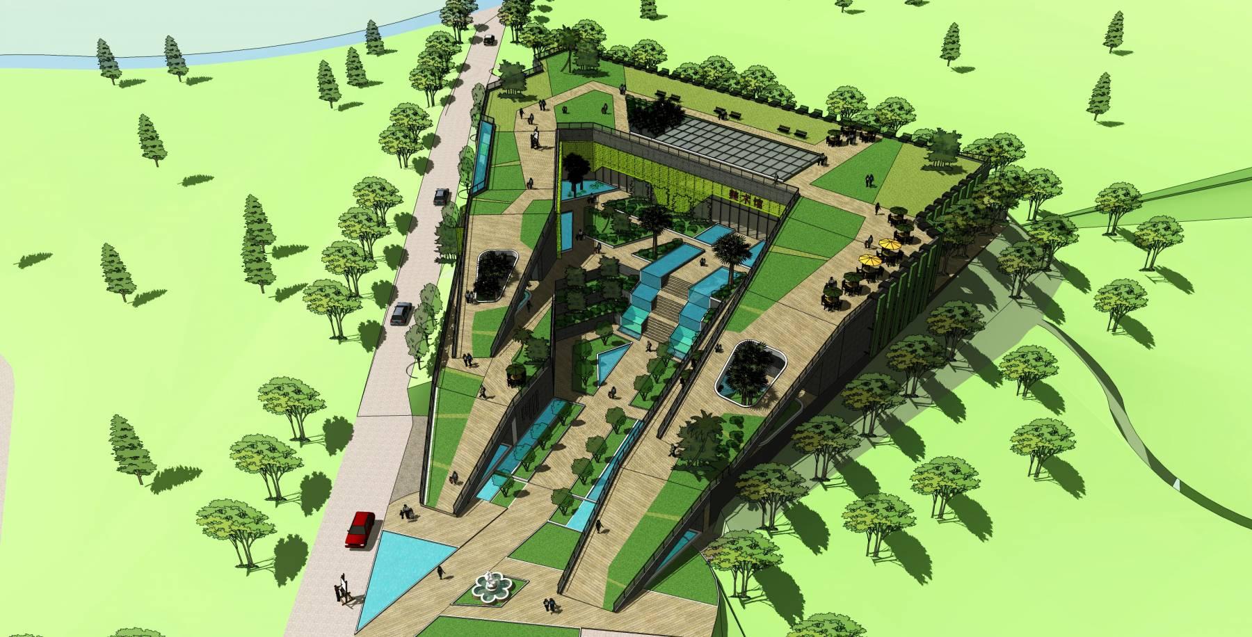 美术馆博物馆覆土精细建筑模型