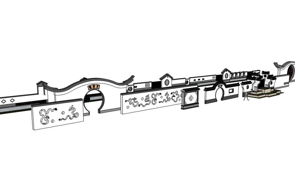 中式景观墙景墙模型