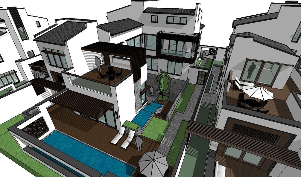 现代中式风格独栋别墅建筑模型