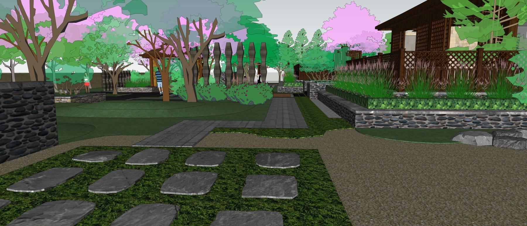 中式温泉庭院景观设计