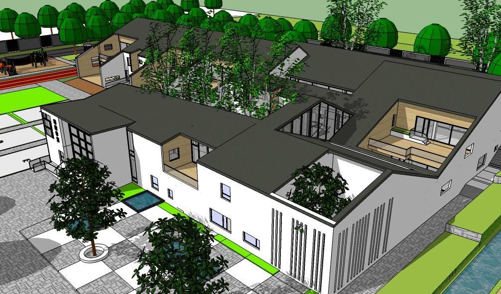 现代中式幼儿园学校类建筑设计方案SketchUp模型