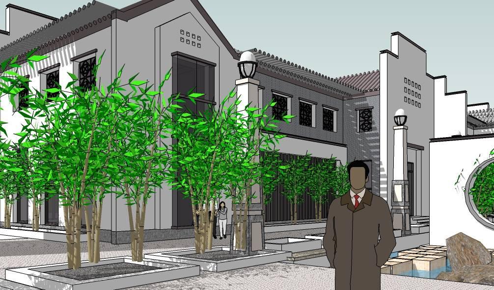 徽派中式黑白灰会所建筑模型