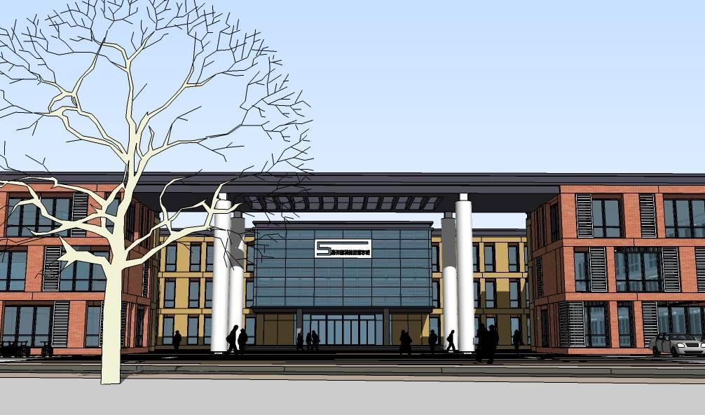 现代多层特殊教育学校教学楼建筑su模型