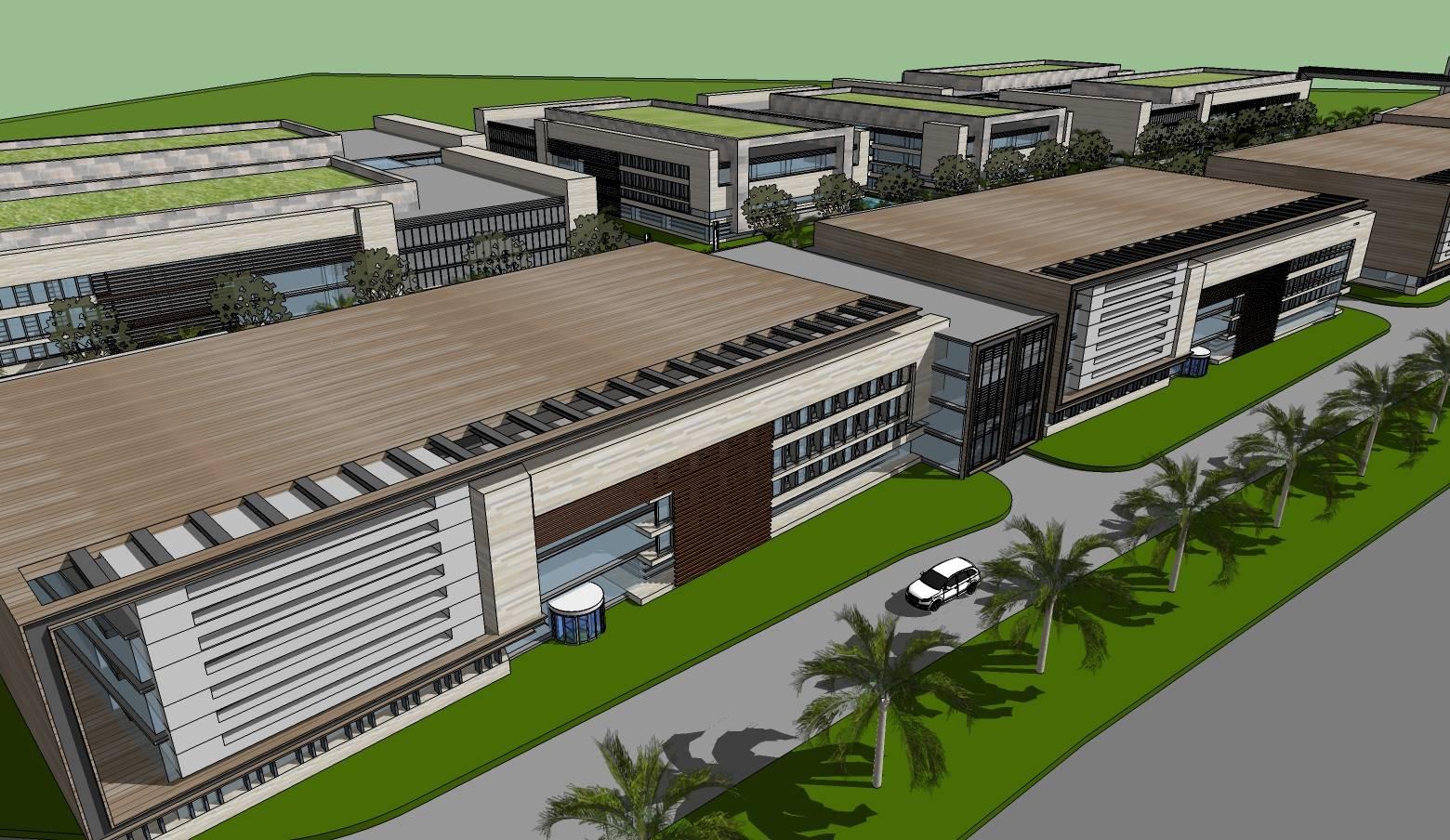 现代工业产业园规划办公楼建筑sketchup模型