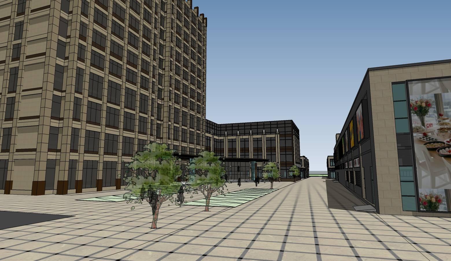 现代多层综合市场建筑及高层办公楼建筑模型