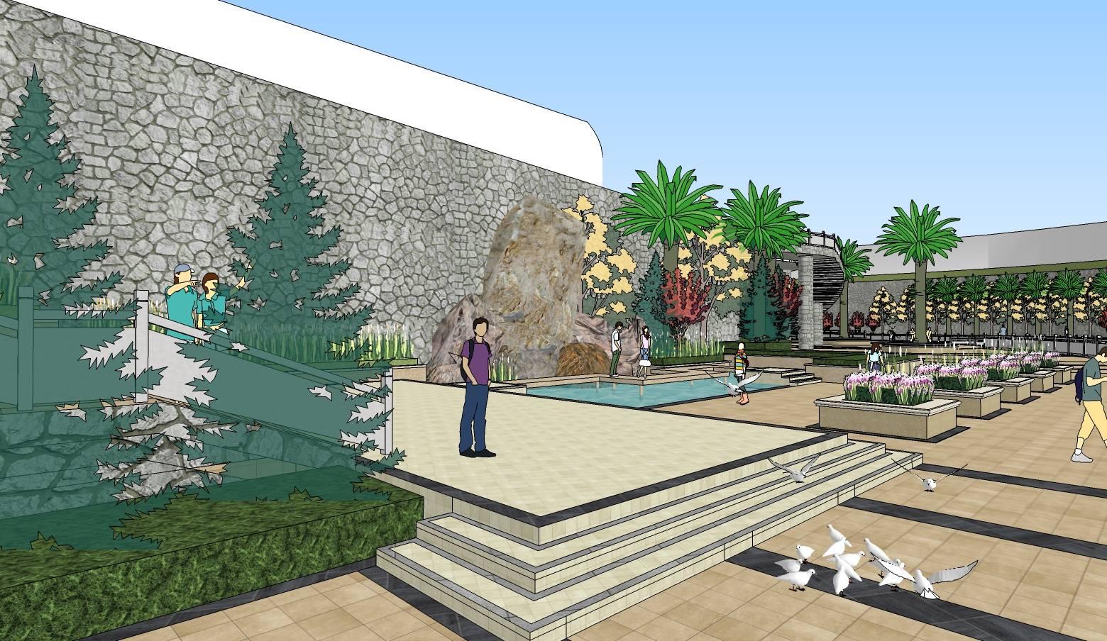 滨水园林广场景观规划sketchup模型