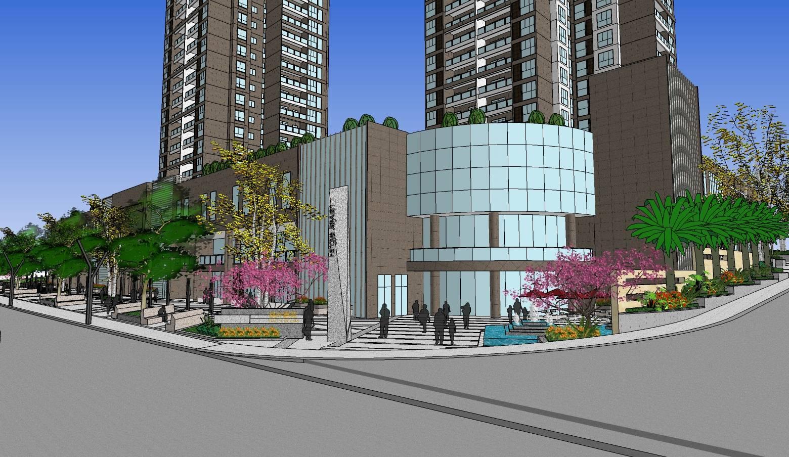 现代风格小区高层住宅+商业精细建筑sketchup模型