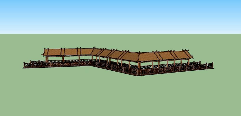 新中式廊架:观荷廊(钢木结构)