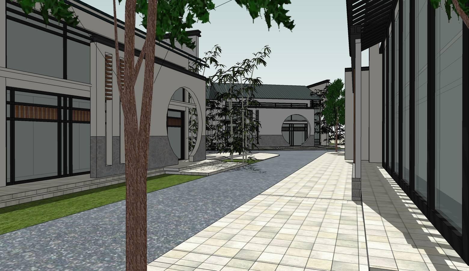 中式徽派黑白灰别墅建筑sketchup模型