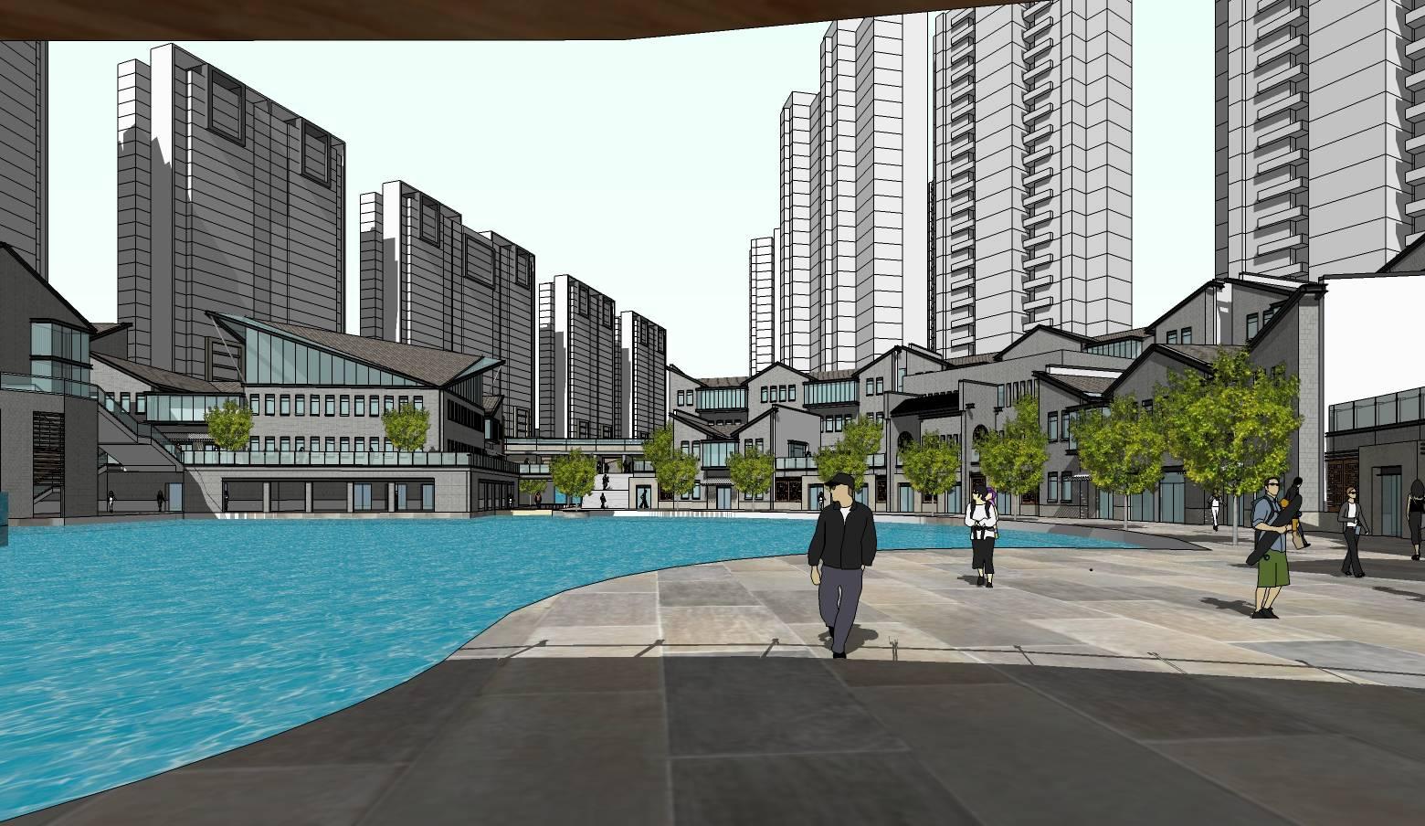 现代中式风格商业街建筑sketchup模型